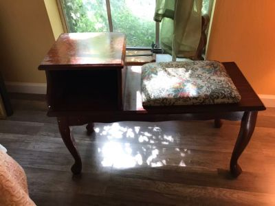 Antique telephone end table