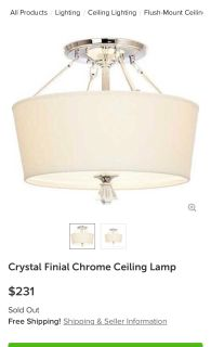 Crystal finial chrome ceiling lamp, chandelier, flush mount, checking light fixture