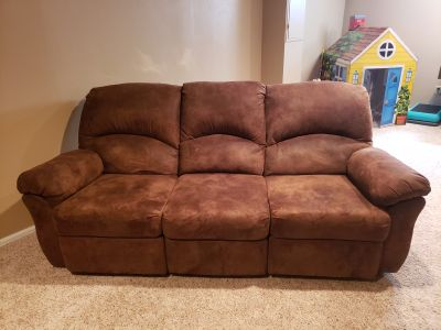 2 pieces- Brown microfiber reclining couch and recliner chair