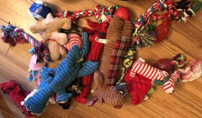 Lot of dog toys - used - some hardly used, some gently.