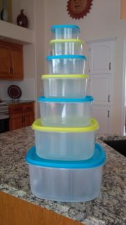 Nested Square Food Storage Containers (Large Capacity, 7 Bowls with 7 Lids)