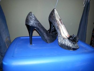 Silver and black lace heels, size 7