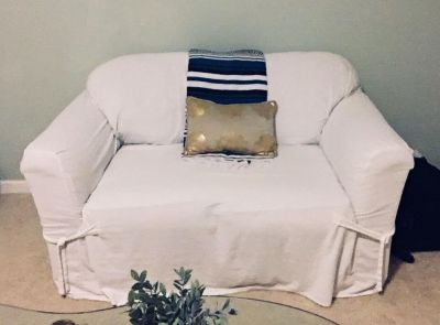 FCFS, will be donated next week! White slipcovered loveseat (green underneath).