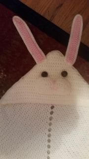 Handmade baby Afghan with bunny hat attached
