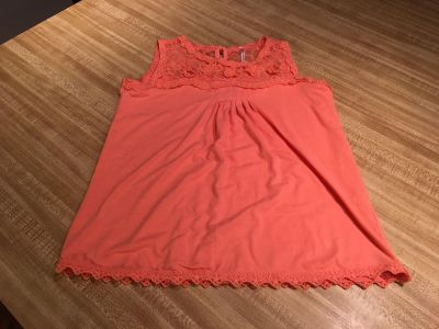 Sweet soft lace yoke and trim cotton tank buttons at neck