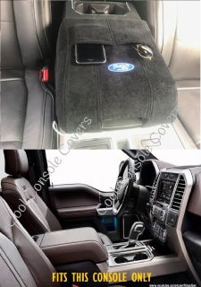 Ford 2011 - 2019 F150 F250 Center Console Cover Black 100% Cotton Terry Velour with Embroidered Ford