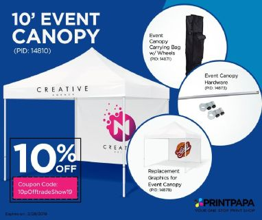 10% off (max $100) on the Complete Package of Event Tent