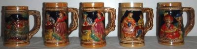 (5) Vintage German / Bavarian Style Beer Mugs / Steins