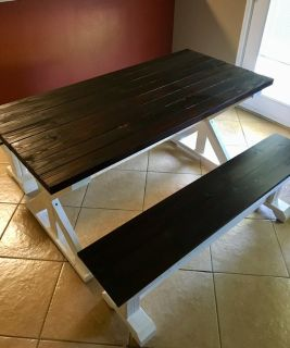 Farmhouse X dining table and benches