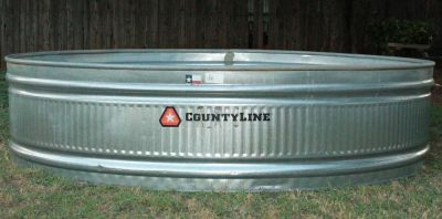 CountyLine Extra Large Galvanized Round End Stock Tank, 8 ft W X 2 ft. H X 8 ft. L