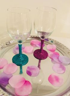 Set of Two Custom Made Personalized Wine Glasses