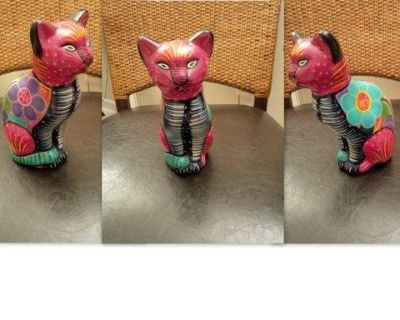 Colorful Mexican Folk Art Pottery Cat