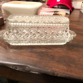 Vintage cut glass butter dish