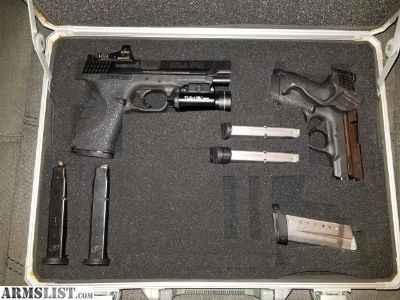"""For Sale: S&W 2 gun combo. M&P Sheild 9mm, M&P pro Series C.O.R.E 9mm 5"""" plus accessories and case"""