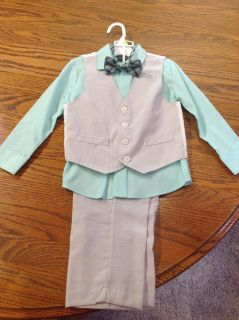 Mint green and grey striped formal shirt, pants, vest, and bowtie