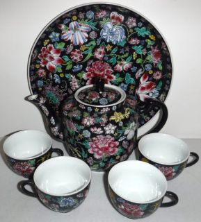 Hand Painted Tea Set - Teapot - 4 cups + Tray
