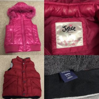 Kids Puffer Vests - Pink Justice Size 10 & Red Gap Size 5T