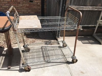 Old, rusty stainless steel cart