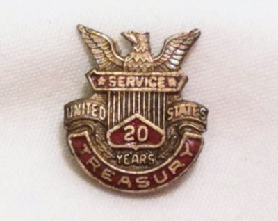 US Treasury Dept 20 Year Service Sterling Silver Retirement Pin Lapel Tie Tack