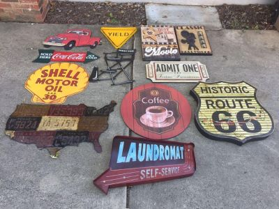 Various 50 s Themed Decorative Signs