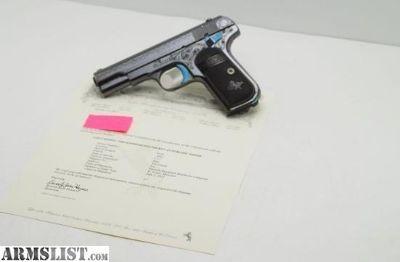 For Sale: 1912 Colt 1908 .380 Blue Factory Engraved w Letter