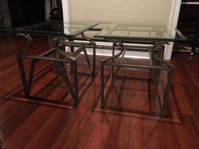 Set of Two End Tables and One Coffee Table
