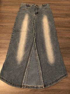 Long denim skirt size large but fits like a size 7/8