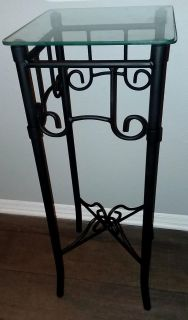 Wrought iron stand w/ glass top