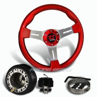 Buy For Civic CRX Del Sol 350mm 6 Hole Bolt Lug Red Wood Steering Wheel + Hub Combo motorcycle in Walnut, California, United States