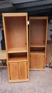 """2 cabinets solid wood with 2 glass shelfs has light and wheels 73""""H x 23""""W x 16 1/2""""D great condition"""