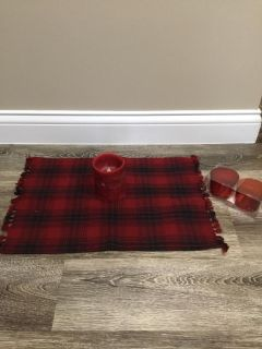 Christmas colored table mat with red battery operated candle plus 2 new in the box red votive candle holders