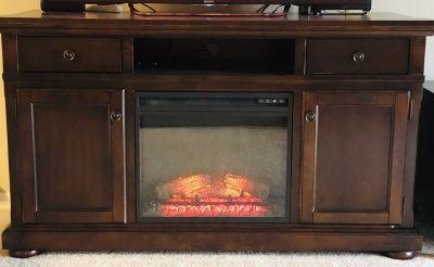 ASHLEY- TV stand with Fireplace Incert.