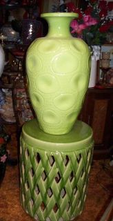 Large Green Colored Vase With Matching Pedestal Stand