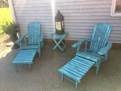 Adirondack chairs that let out to be lounge chairs! TABLE INCLUDED THEY NEED TO BE PAINTED and screws tightened. PRICED ACCORDINGLY.