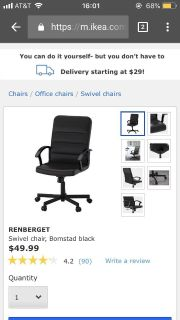 Desk with five drawers, swivel chairs