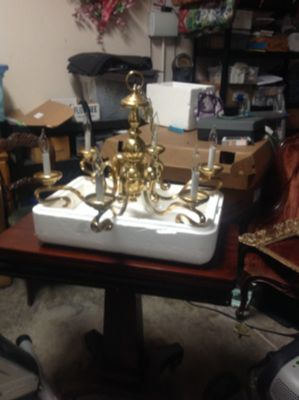 Large solid brass ornate chandelier
