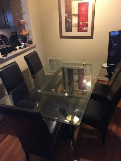 Glass and Wood Table w/6 chairs