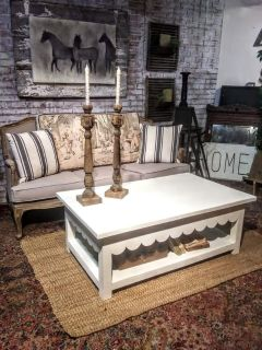 Custom built scalloped coffee table