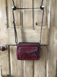 Maroon and brown purse