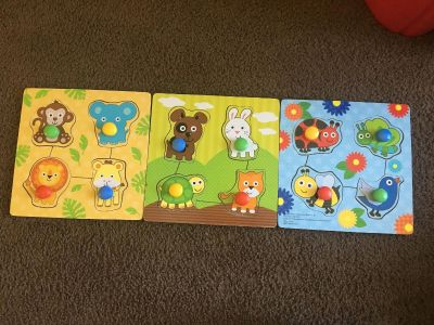 EUC Wooden Animal Block Puzzles for Toddlers