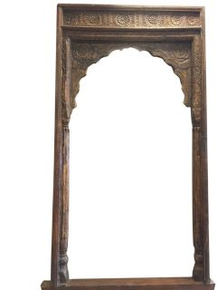 Antique Arch Columns Haveli Rustic Floral Carved Architecture 18c