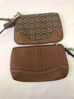 Brown Tan Coach Wristlets Leather Canvas. Porch Pick up Available. Staples Mill at 295.
