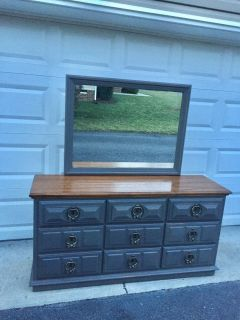 Slate gray triple dresser/changing table/TV console with mirror