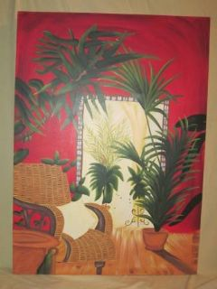 Decorative Canvas Palm Trees and Chairs