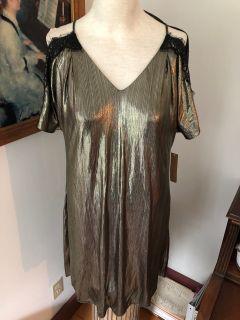 NWT Sz Medium $129 Rachel Roy Vintage look cold shoulder shift dress