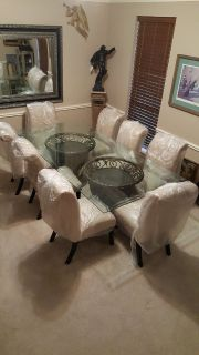 Solid beveled glass large dining table with eight chairs