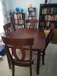Solid wood dining table and hutch