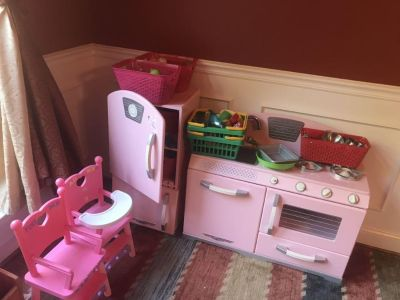 Kitchen refrigerator, stove, TONs of food and dishes, baskets, 2 high chairs