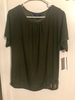 Short sleeve dark green top NWT