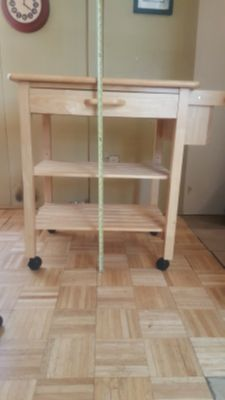 Pine Rolling Kitchen Island Cart